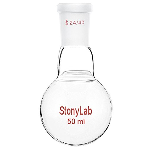 StonyLab Glass 50ml Heavy Wall Single Neck One Neck Round Bottom Flask RBF, with 24/40 Standard Taper Outer Joint - 50ml