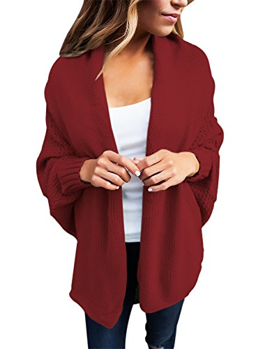 Sidefeel Women Casual Dolman Sleeves Draped Open Cardigan Tops Meidum Burgundy - Burgundy Cardigan Sweater