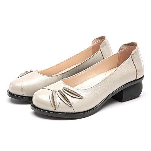 cuero/La primavera y el otoño con los zapatos/ Grueso con zapatos antideslizantes/Zapatos de mujer casual C