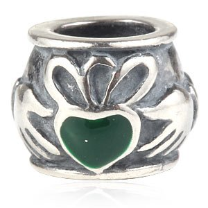 Everbling Irish Claddagh Friendship and Love Green Enamel 925 Sterling Silver Bead Fits European Charm Bracelet