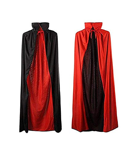 MEZETIHE 35'' Black and Red Halloween Cloak Magician Cape Cosplay Costumes for Boys Girls -