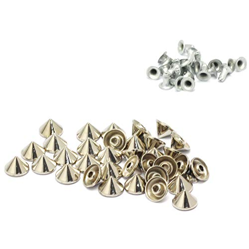 - RuiLing 100pcs Cone Studs Rivet Bullet Spikes Rapid Rivets Rock Leathercraft Decorations Accessory Handmade DIY Crafts for Punk Jewelry Shoes Clothes Bags Garment 10x7mm Silver
