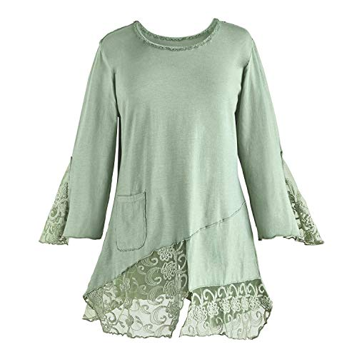 Parsley & Sage Women's Bias Cut Tunic Top - Cotton & Lace 3/4 Sleeve Blouse - Sage Green - Large (And Sage Parsley Tops)