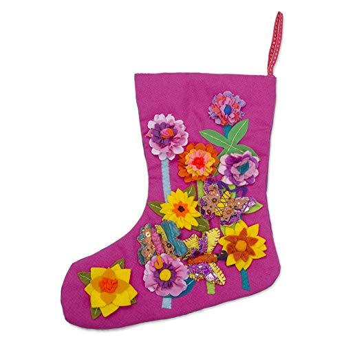 - NOVICA Floral Holiday Christmas Stocking, Multicolor, Fuchsia Summer Holiday'
