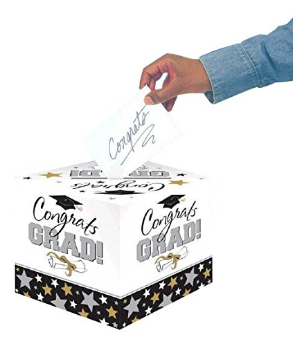 amscan Black and White Grad Greeting Card Holder Box | Party Favor -