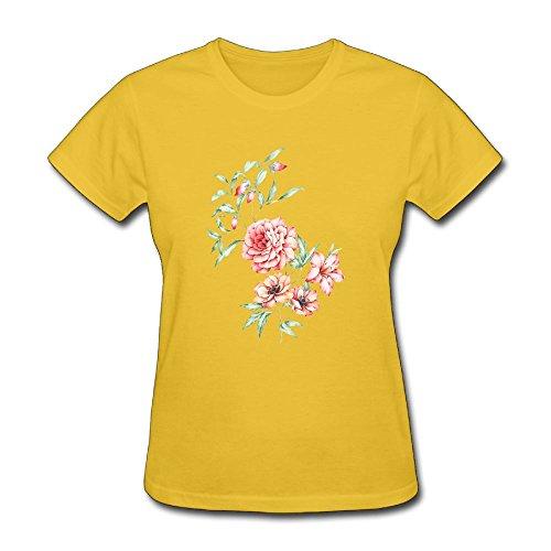 (Justinflashsale Women Basic Solid Crew Neck Short Sleeve T-Shirt FLOWER SERIES)