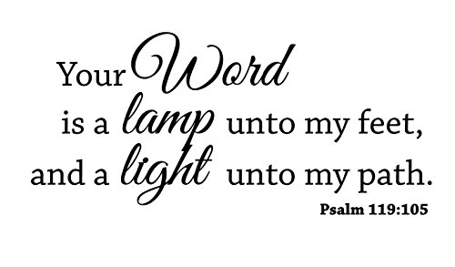 Newclew Your word is a lamp unto my feet, and a light unto my path. Psalm 119:105 Wall art sayings Sticker Décor Decal prayer church Jesus Lord prayer Bible (22''W x 10''H) (Lamp Unto My Feet Light Unto My Path)