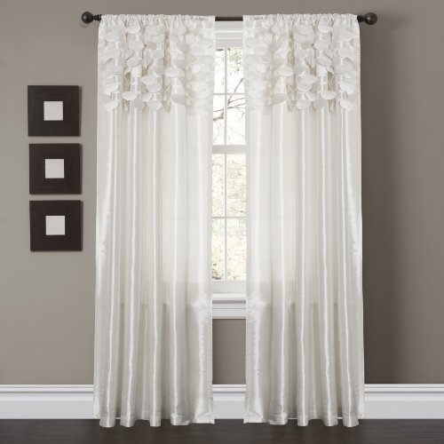 "Lush Decor Circle Dream Window Curtains Panel Set for Living, Dining Room, Bedroom (Pair), 84"" x 54"" White"