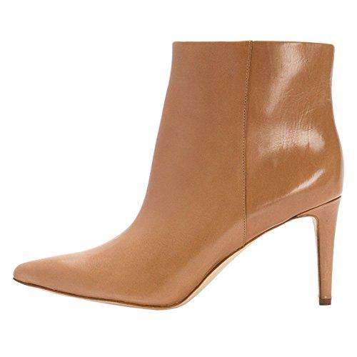 Stivali Opache 8 5cm Partito Alto Caviglia Casuali Elegante Eks Donne Metà Marrone Stivaletti Signore Tacco Stiletto rqTzrBx
