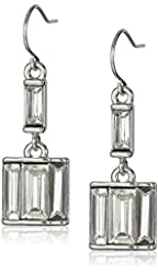 """Kenneth Cole New York """"Sparkled Baguette"""" Crystal Baguette Stone Double Drop Earrings"""