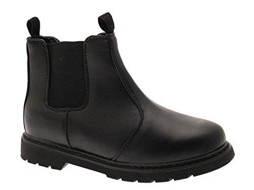 New Boys Chelsea Dealer Boots für die Schule aus Kunstleder Schlupfschuhe Noir - noir