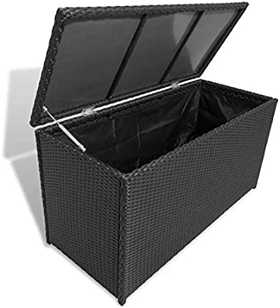 BNT Flamingo Caja de almacenaje jardín ratán sintético Negro 120x50x60 cm: Amazon.es: Hogar