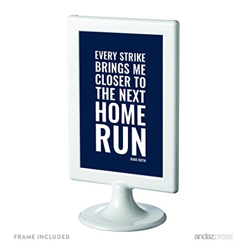 Andaz Press Motivational Framed Desk Art, Every strike brings me closer to the next home run, Babe Ruth, 4x6-inch Inspirational Success Quotes Baseball Art Gift Print, 1-Pack, Includes Frame