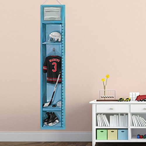 (Personalized Sports Locker Growth Chart for Boys - Hockey)