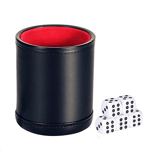 Dice Cup with 5 Dices, Bagent PU Leather Felt Lined Professional Mini Dice Shaker Cup Set for Yahtzee / Craps / Backgammon or other Dice Games (RR-08) (Cup Professional Dice)