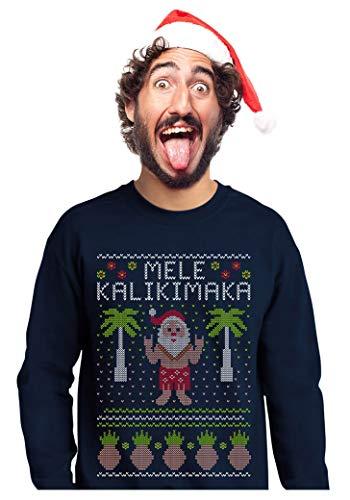 Mele Kalikimaka Hawaiian Santa Themed Ugly Christmas Sweater Sweatshirt Medium ()