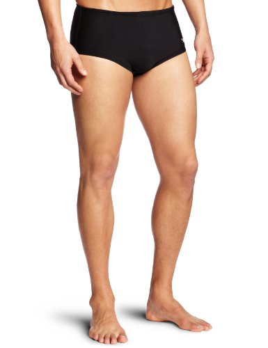 Speedo Men's Endurance Lite Color Block Drag Brief Swimsuit, Black, 44
