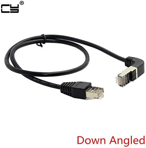 Computer Cables Elbow Down Angled Cat5e 8P8C STP Cat5 Cat 5e RJ45 LAN Ethernet Network Patch Cord to Straight Cable Angled RJ45 0.5m 1m 2m 3m 5m Cable Length: 500cm, Color: Up Angled