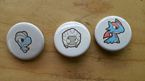 5x Pokemon Collectible 1'' inch Buttons - Bagon Shelgon Salamence Evolution Set - Custom Made - Pin Back - Gift Party Favor by Legacy Pin Collection