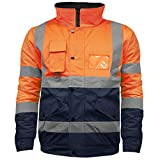 High Visibility Safety Security Reflective Protective Waterproof Workwear Bomber Jacket Orange/Navy