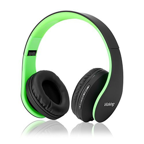Bluetooth Headphones, Dami Wireless Over Ear Headsets w/Built-in Microphone, Foldable, Soft Memory-Protein Earmuffs, and Wired Mode for PC, Cell Phones, TV in Green Color