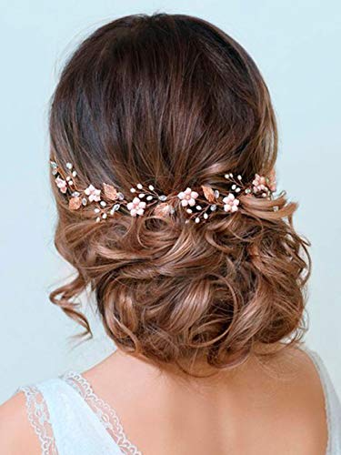 Barogirl Wedding Headpiece Rose Gold Bride Flower Hair Vine Pearl Bridal Crystal Headband for Women (Rose Gold)