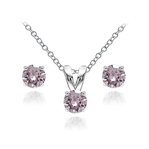 - GemStar USA Sterling Silver Solitaire Pink Necklace Stud Earrings Set Created Swarovski Crystals