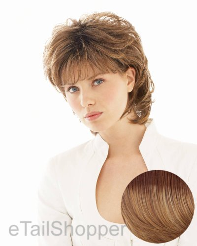 - Salsa Avg Cap Wig  Color SS14/25 SHADED HONEY GINGER - Raquel Welch Wigs Women's Layered Pageboy Cut Synthetic Memory Cap Shag