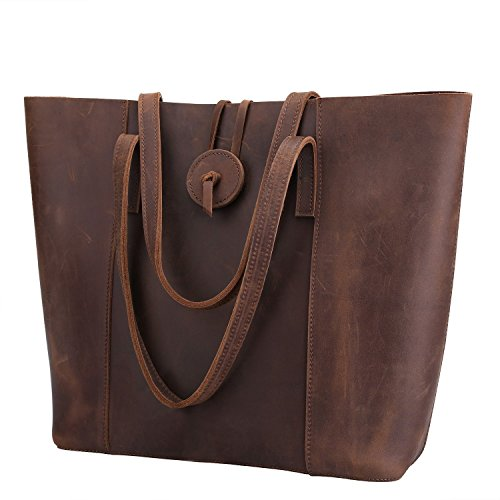 Suede Leather Tote Bag - Artishus Vintage Genuine Crazy Horse Leather Tote with Zipper Pocket | Shoulder Bag Purse
