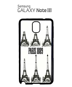 Paris Eiffel Tower 1889 Retro Mobile Cell Phone Case Samsung Note 3 Black by supermalls