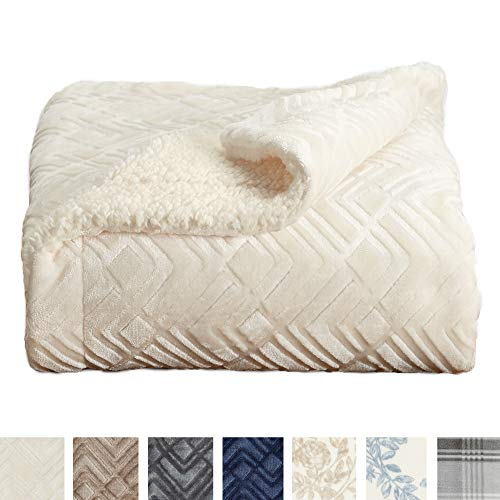 Sherpa Fleece Quilt - Home Fashion Designs Premium Reversible Sherpa and Sculpted Velvet Plush Luxury Blanket. Fuzzy, Soft, Warm Berber Fleece Bed Blanket Brand. (King, Winter White)
