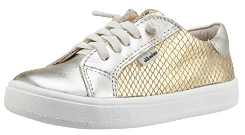 Old Soles Boy's & Girl's 6030 Thor Runner Gold Snake and Metallic Gold Dual Color Leather With Faux Laces and Side Zipper Sneaker Shoe 25 M EU/9 M US Toddler - Kid Snake Girl Sneaker