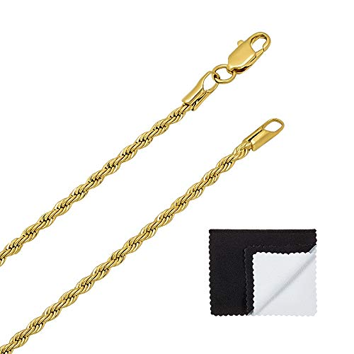 The Bling Factory 14k 25 Mills Gold Plated 2.4mm French Rope Link Chain, Necklace or Bracelet, 8-30 + Microfiber Cloth