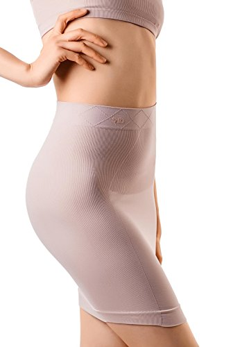 Half Slip Skirt (MD Women's Shapewear High Waisted Nylon Firm Tummy Control Half Slip Body Shaper NudeXL)