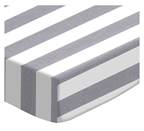 SheetWorld Fitted Portable Mini Crib Sheet - Grey Stripe - Made in USA by SHEETWORLD.COM