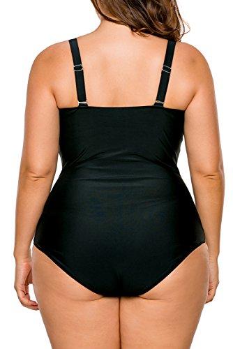 ILFtrend Mujeres Talla Grande Traje de Baño de una Pieza Encaje de la Inserción con Pliegues del Traje de Baño Negro