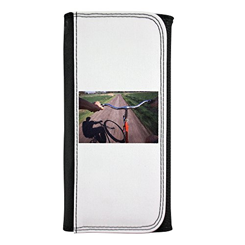 Bicycling on a country road leatherette wallet