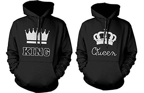 Cute pareja Sudaderas con capucha - rey y la reina corona a juego par Sudaderas: Amazon.es: Ropa y accesorios