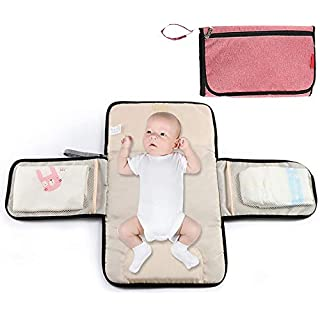 Portable Changing-Pad Cover for Baby Diapers - Lonnie Life Baby Home Changing Table, Baby Changing Station for Travel, Diaper Bag and Changing Mat with Pillow (Red)