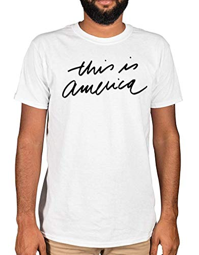 AnnaBGuillaume Men's Childish Gambino This is America Script Cool T-Shirt Casual Tees,White,Medium