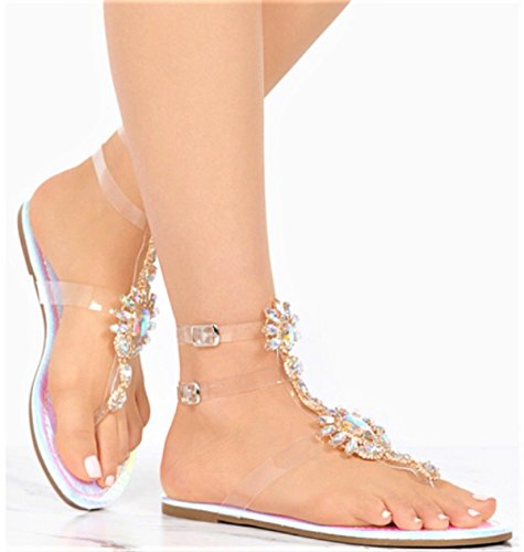 Liliana Marlo-9 Gladiator Lucite Clear Strap Rhinestone Bling Flats Sandal Hologram Pink 8 - Shoes Clear Slide
