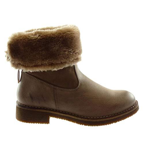 Boots cm Material Angkorly Khaki Booty Shoes 3 Snow Fashion bi Ankle Block 5 Heel Boots Women's Fur qzwzHZI