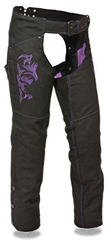 WOMEN'S MOTORCYCLE MOTORBIKE TEXTILE CHAP PURPLE REFLECTIVE EMBROIDERY BLACK NEW (M Regular)