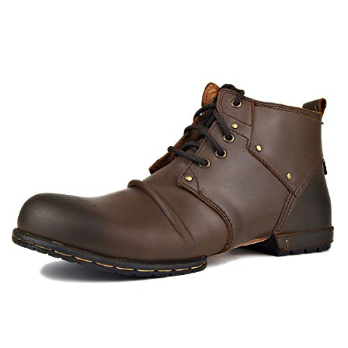 OTTO ZONE Moto Boots for Men Fashion Zipper-up Leather Chukka Boots with Fur Casual Shoes 6015-2-brown-US9