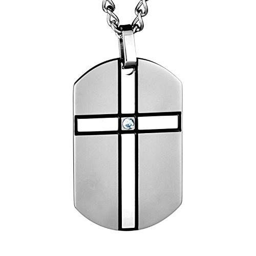 West Coast Jewelry | Crucible Stainless Steel Cross Cubic Zirconia Dog Tag Pendant Necklace - 24