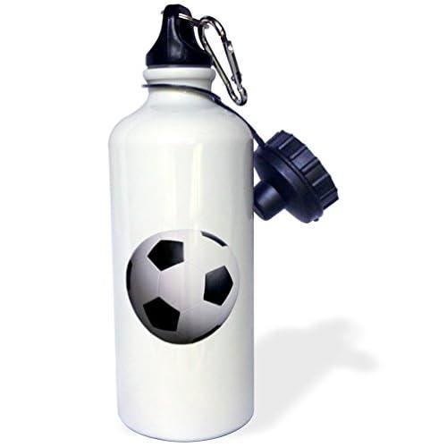 3dRose wb_3189_1 Soccer Ball Sports Water Bottle, 21 oz, White