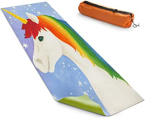 DiaNoche Designs Yoga Mats By nJoy Art - Rainbow Unicorn l