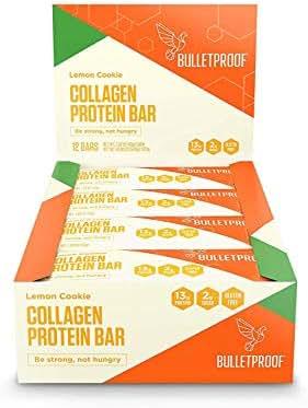 Bulletproof Bars Collagen Protein, Perfect Snack for Keto Diet, Paleo, Gluten-Free, for Men, Women, and Kids (Lemon Cookie)