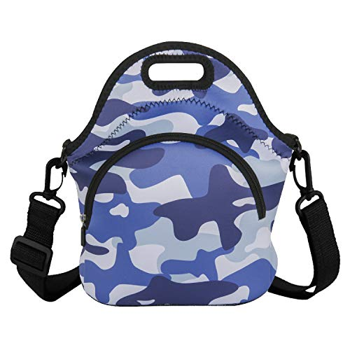 Camouflage Neoprene Lunch Bag Tote Insulated Thermal Reusable Lunchbox Carrier for Boys Men with Detachable Strap