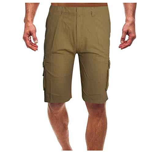 Summer Shorts Men's ildlor Fashion Mid-Rise Shorts Loose Casual Multi-Pocket Tooling Pants Khaki